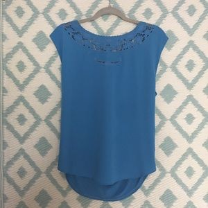 Lauren Conrad Blue Tie Blouse